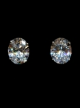 ONE CARAT STERLING OVAL STUDS